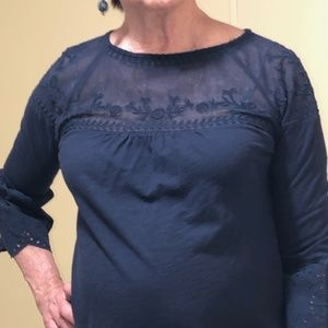 Dark Blue blouse with elaborate mesh design/lace